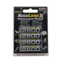 AccuLoop 2600 mAh AA NiMH Rechargeable Batteries Precharged