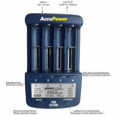 AccuPower IQ338 Fast Charger and Analyzer Tester for Li-ion NiMH NICd Rechargeable Batteries