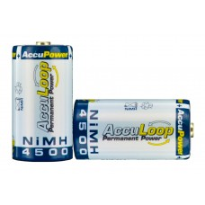 AccuLoop AL4500-2 NiMH C size Rechargeable Batteries Precharged